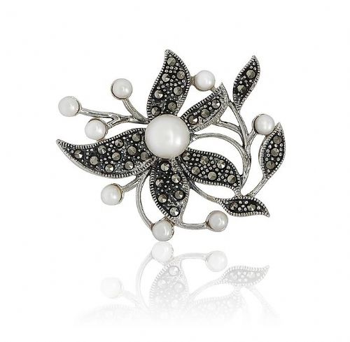 Sterling Silver | Pearl And Marcasite | Flower Brooch